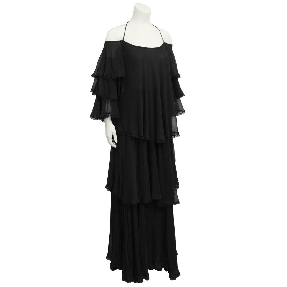 1960's Black Silk Chiffon Tiered Gown