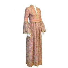 1970's Purple, Pink & Green Bohemian Tambour Embroidered Gown