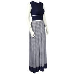 1970's Navy Blue & White Stripe Jumpsuit & Sheer Duster