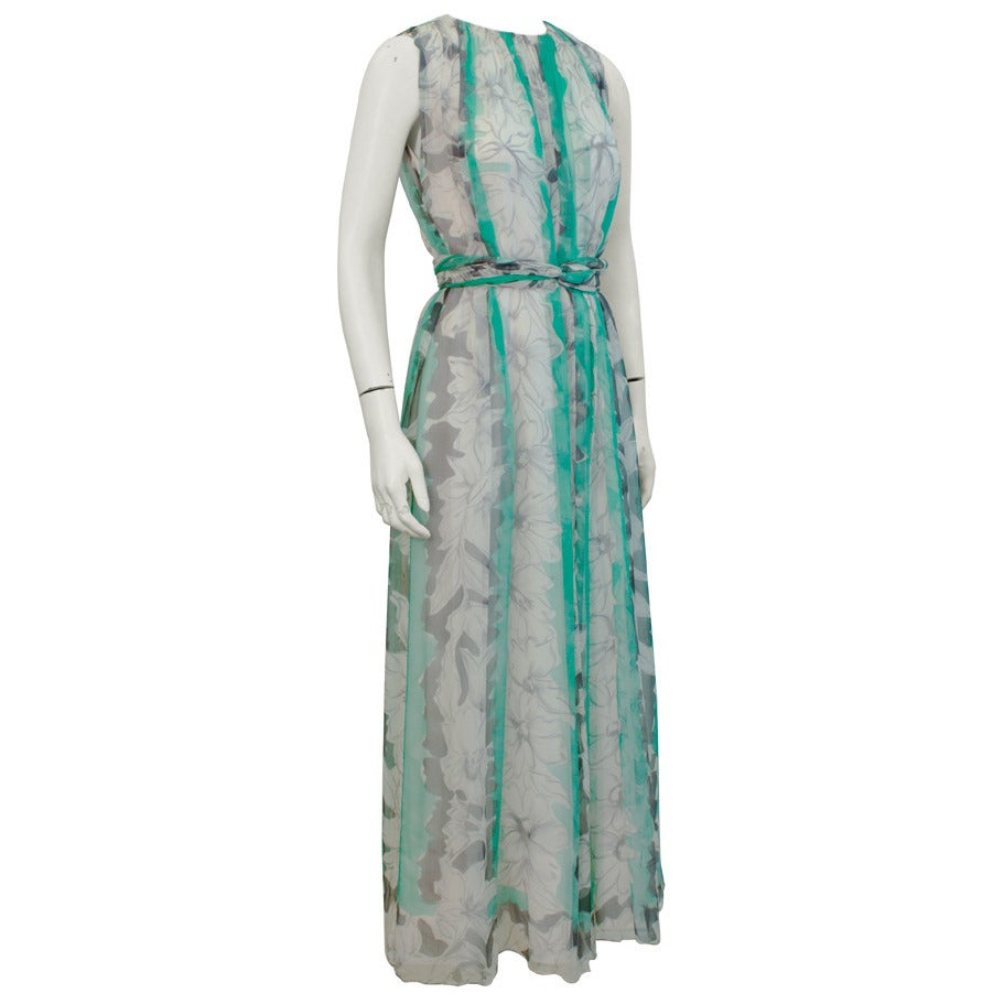 1960s Pauline Trigere Turquoise and Grey Chiffon Gown For Sale