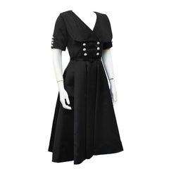 1950's Teal Traina Black Satin and Rhinestone Shirt Waist