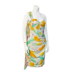 1980's Ungaro Floral One Shoulder Cocktail Dress