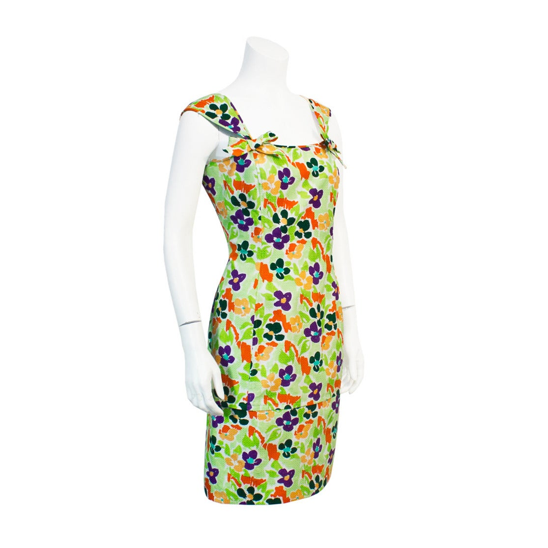 1980's Ungaro Floral Cotton Cocktail Dress For Sale