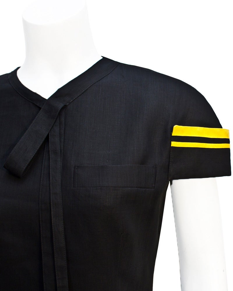 Women's 1980's Versace Black & Yellow Linen Dress For Sale