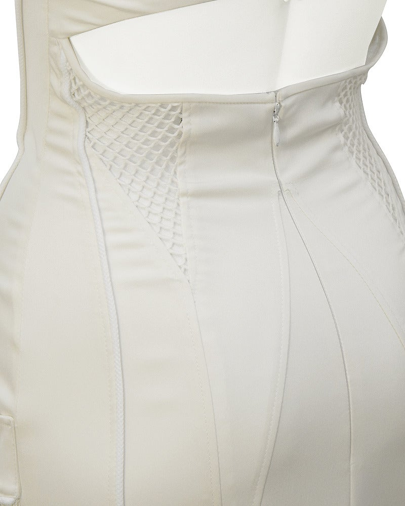 1990's Versace White Body Con Cargo Cocktail Dress For Sale 1