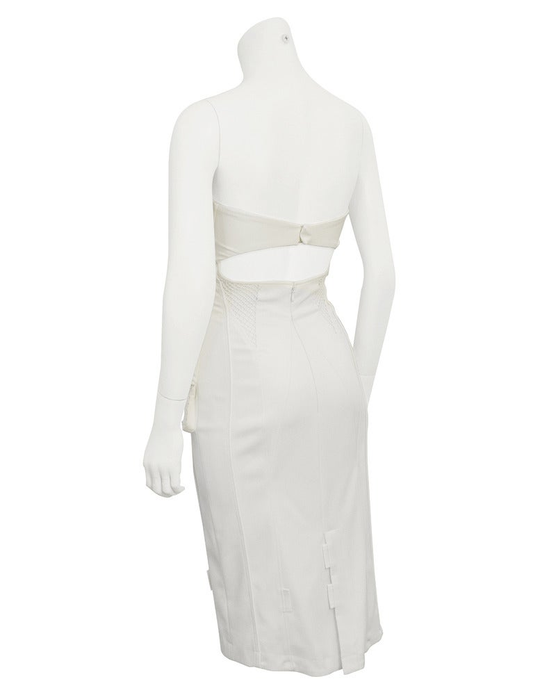 Gray 1990's Versace White Body Con Cargo Cocktail Dress For Sale