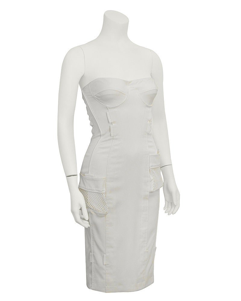 1990's Versace White Body Con Cargo Cocktail Dress 2