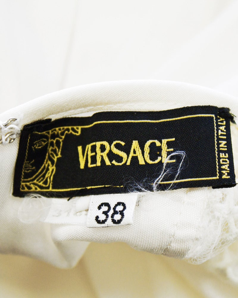1990's Versace White Body Con Cargo Cocktail Dress For Sale 2