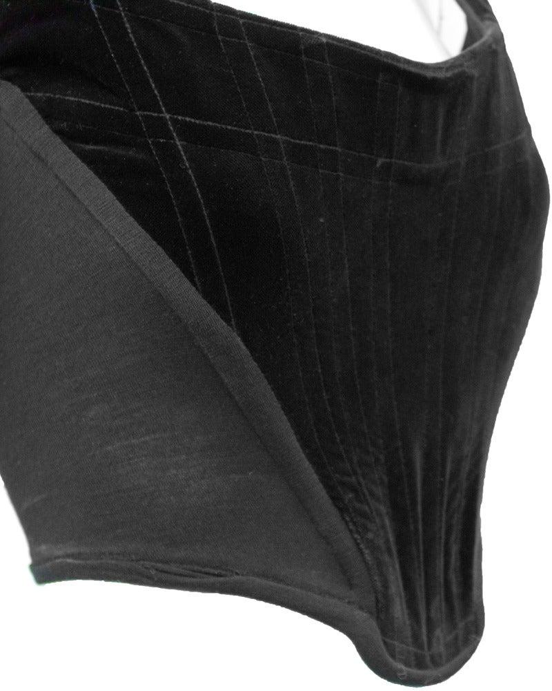 1980's Vivienne Westwood Black Velvet Bustier In Excellent Condition For Sale In Toronto, Ontario