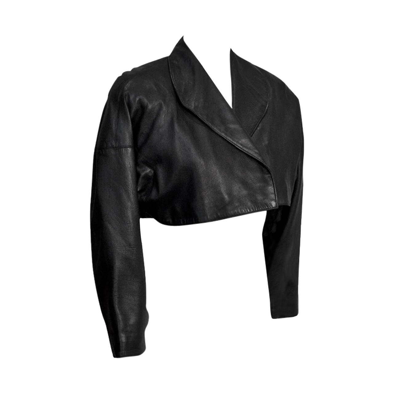 Early 1980s Alaia Black Leather Cropped Jacket at 1stdibs