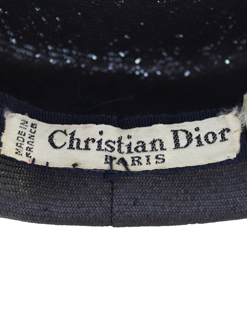 1950's Christian Dior Navy Blue Hat 4