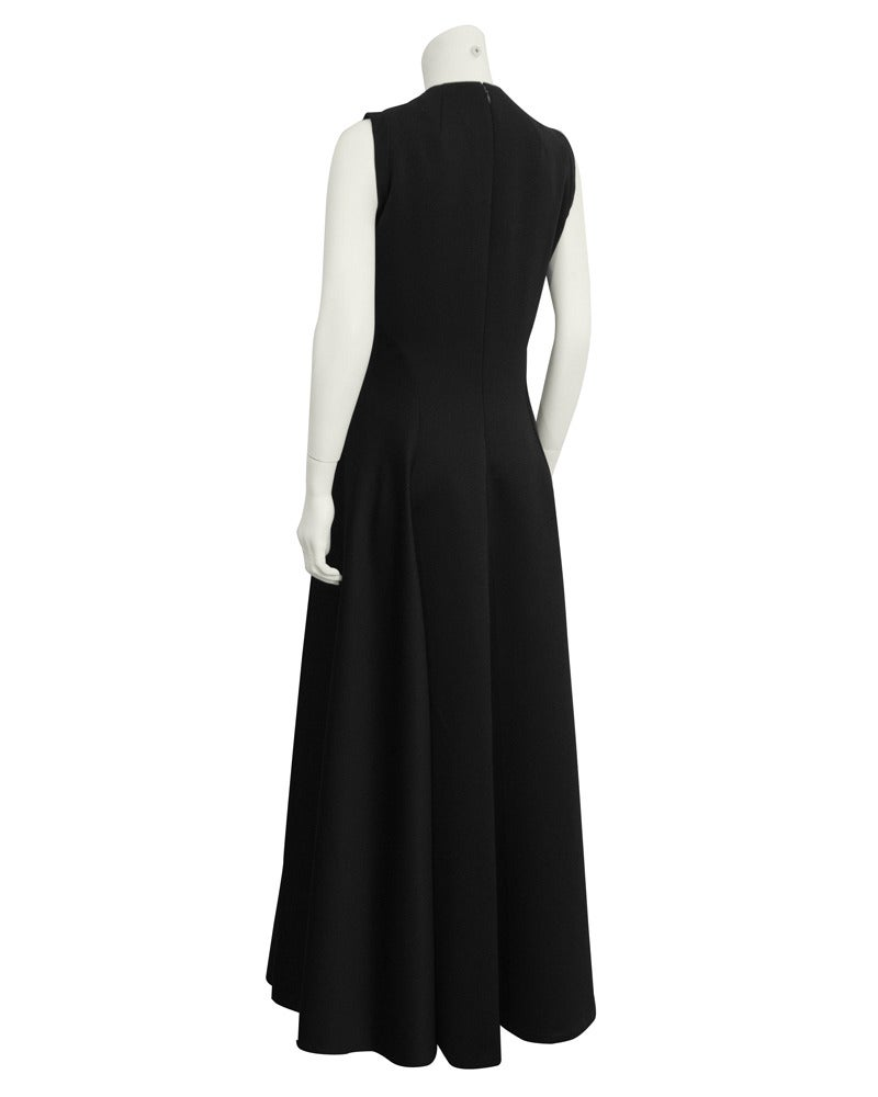 1960's Geoffrey Beene Black Silk Gown In Excellent Condition For Sale In Toronto, Ontario