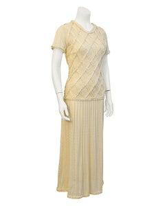 1980's Laura Biagiotti Cream Knit Dress
