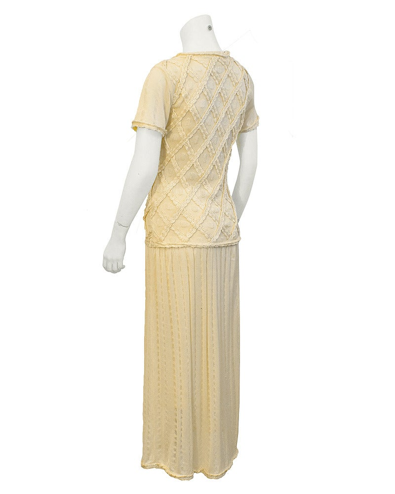 1980's Laura Biagiotti Cream Knit Dress 2