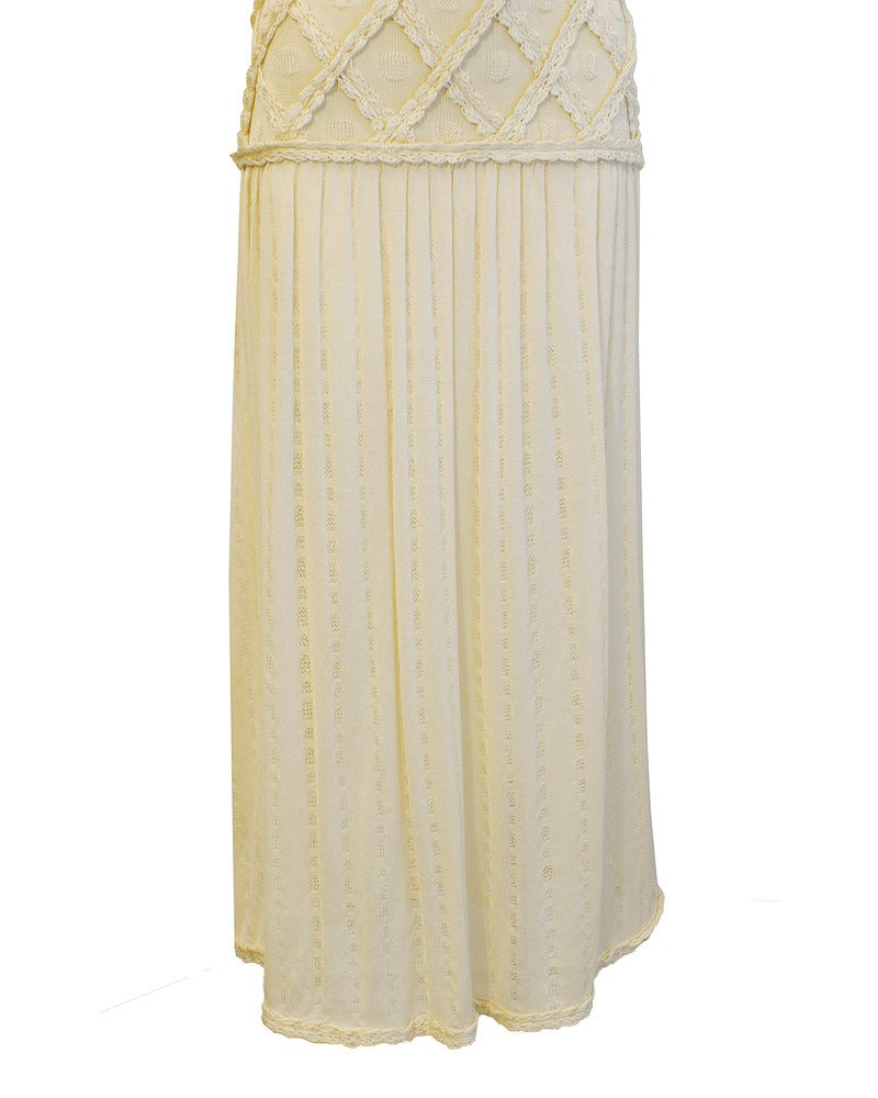 1980's Laura Biagiotti Cream Knit Dress 3