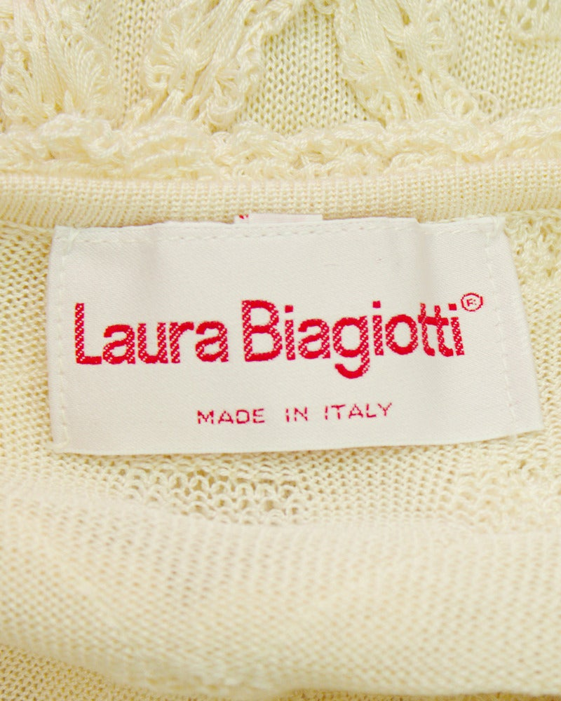 1980's Laura Biagiotti Cream Knit Dress 5