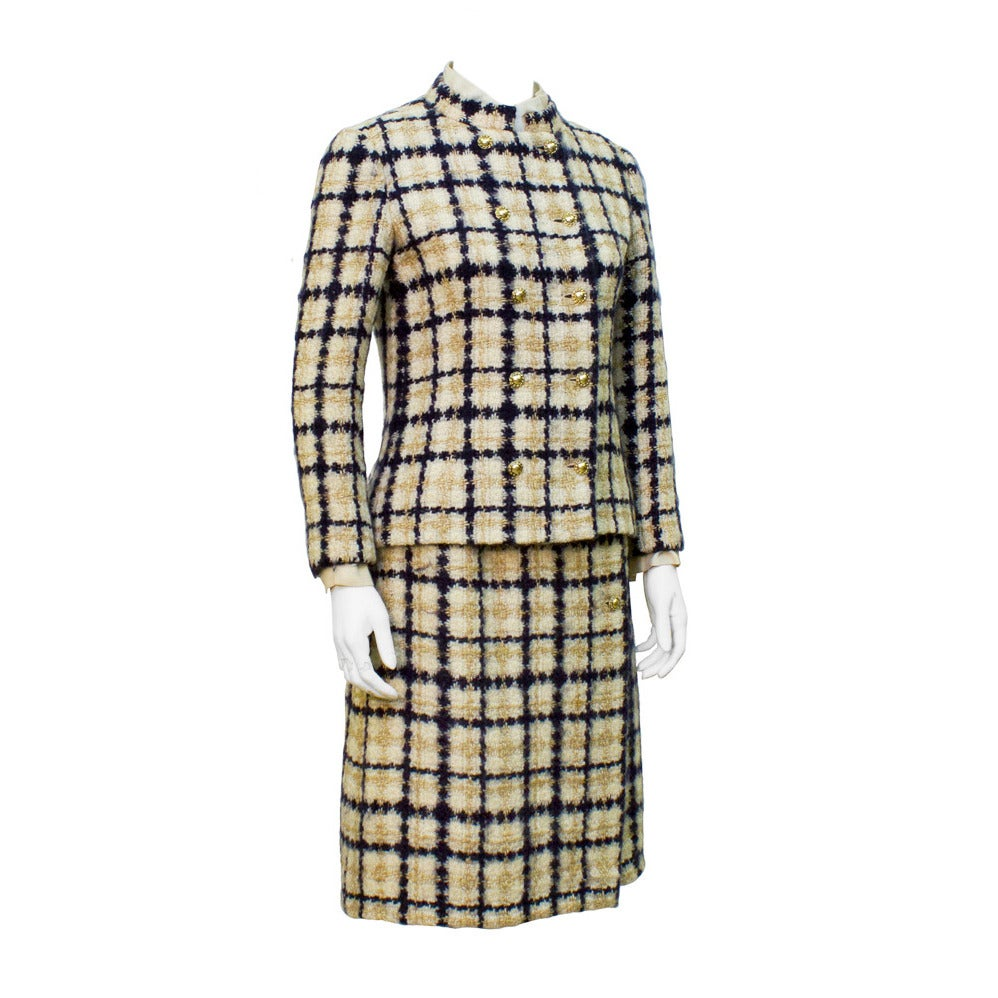 1960's Chanel Couture Navy & Tan Boucle Suit with Removable Collar and Cuffs