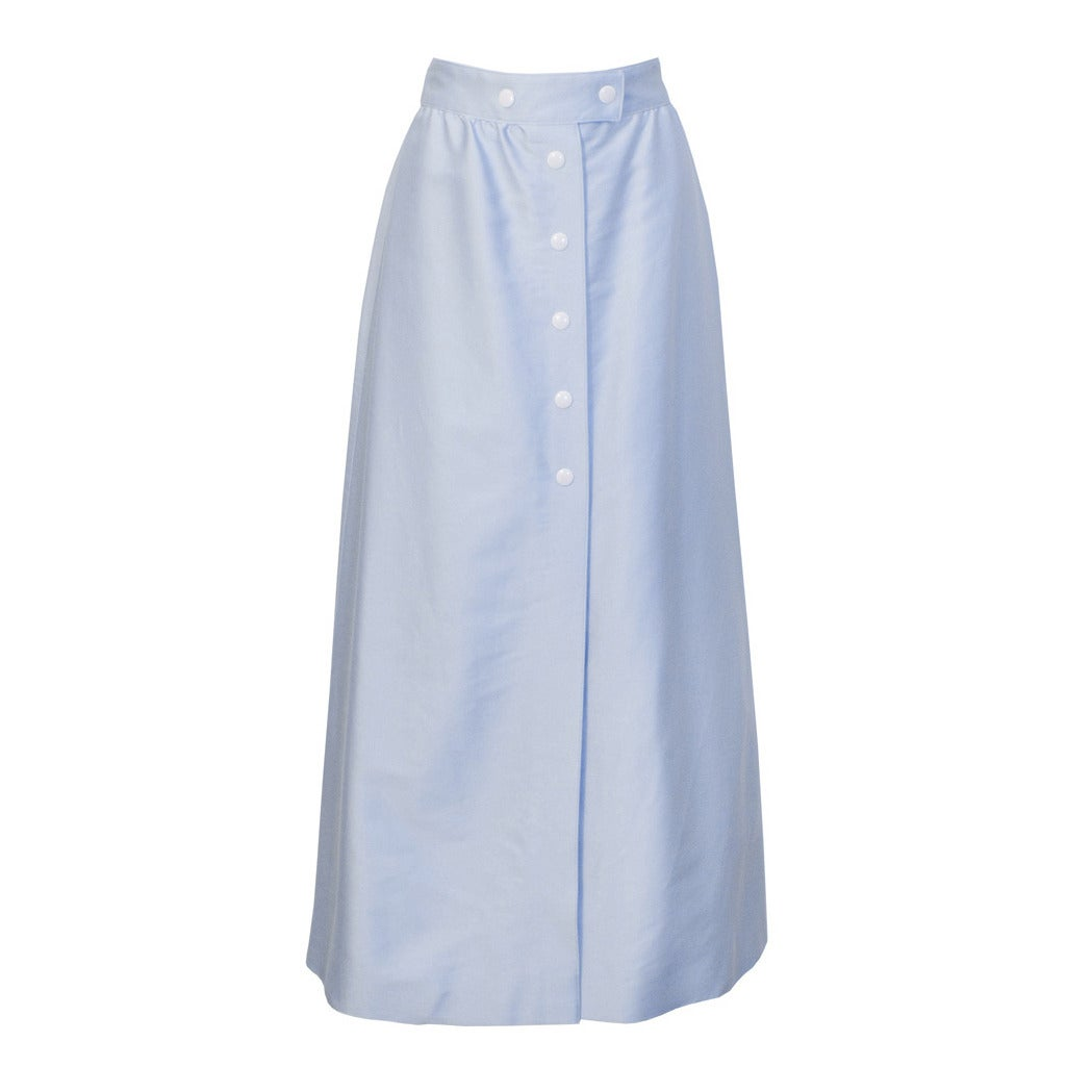 Late 1960's Courreges Baby Blue Button Front Midi Skirt
