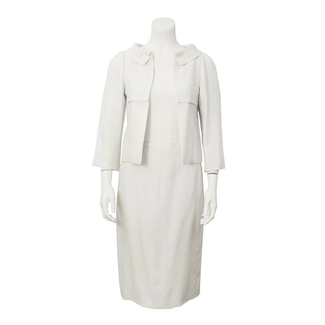 1963 Christian Dior Haute Couture Cream Linen Jacket and Skirt For Sale