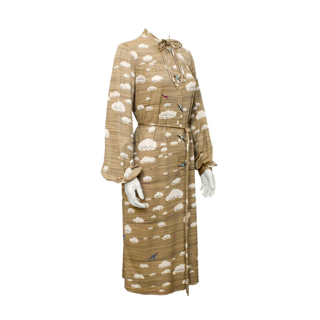 1970's Hanae Mori Cloud and Airplane Print Dress