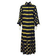1970's Jean Patou Navy Pleated Gown with Yellow Polka Dots