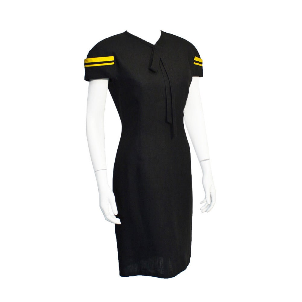 1980's Versace Black & Yellow Linen Dress For Sale