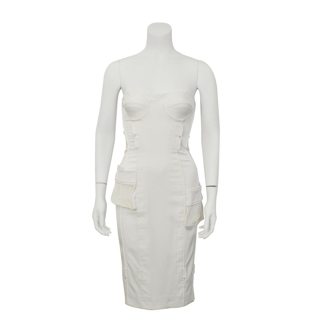 1990's Versace White Body Con Cargo Cocktail Dress For Sale