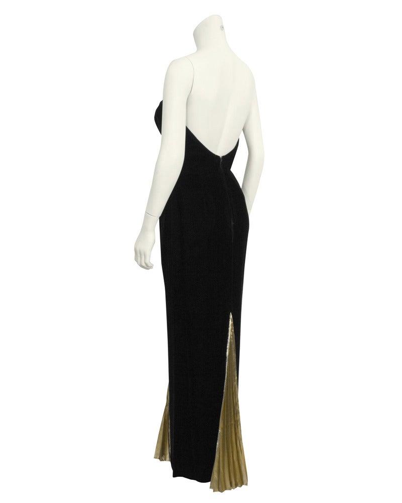 Black 1980's Vicky Tiel Velvet & Gold Lame Gown For Sale