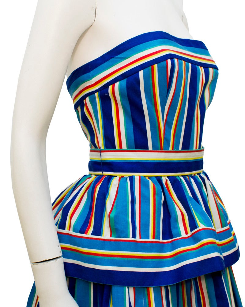 1980's Victor Costa Blue Striped Cotton Tiered Dress 3