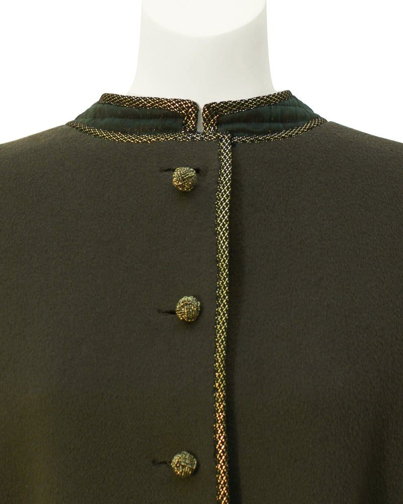 1960's Geoffrey Beene Military Swing Coat In Excellent Condition For Sale In Toronto, Ontario