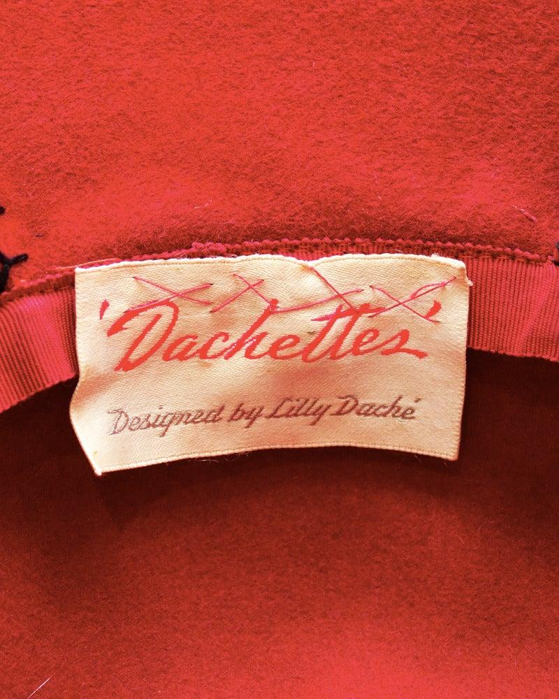 1950's Lilly Dache Red Hat with Black Bow 4