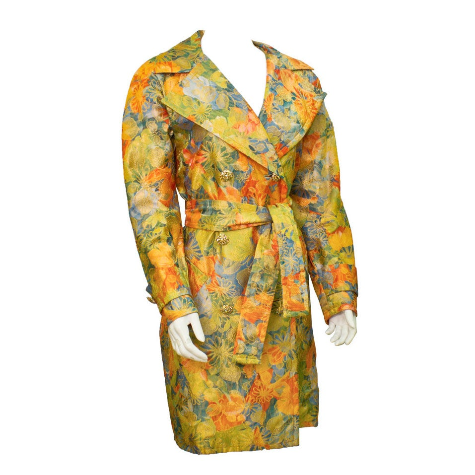 1970's Adele Simpson Floral Brocade Trench Coat