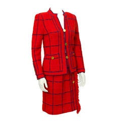 1970's Adolfo Red Knit Chanel Inspired Suit