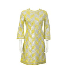 1960's Yellow & White Geometric Beaded & Sequin Cocktail Dress