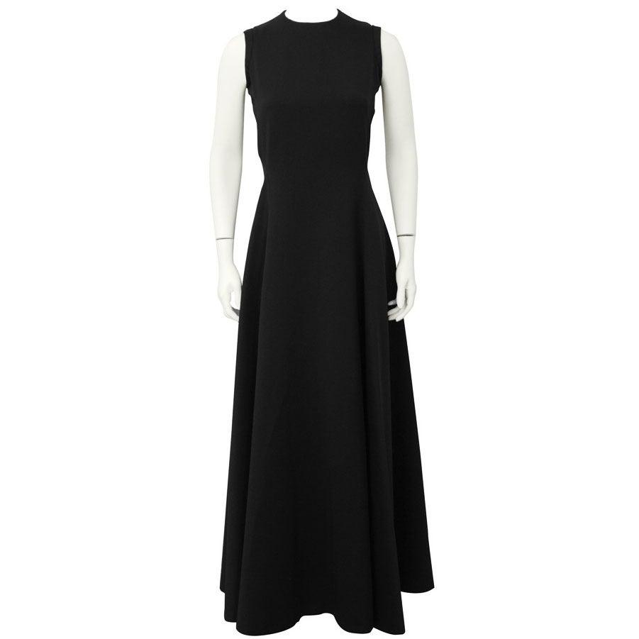 1960's Geoffrey Beene Black Silk Gown For Sale