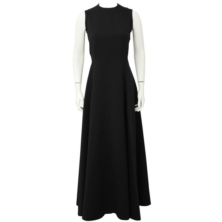 1960's Geoffrey Beene Black Silk Gown For Sale