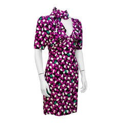 1980's Givenchy Flower Petal Print Dress with Neck Tie