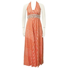 1970's Malcolm Charles Orange and White Houndstooth Jumpsuit