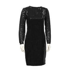 1980's Bellville Sassoon Black Long Sleeve Sequin Dress
