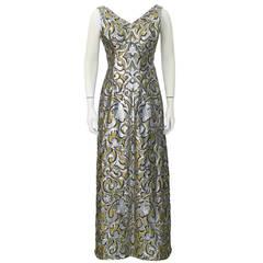 1970's Scaasi Brocade Evening Gown