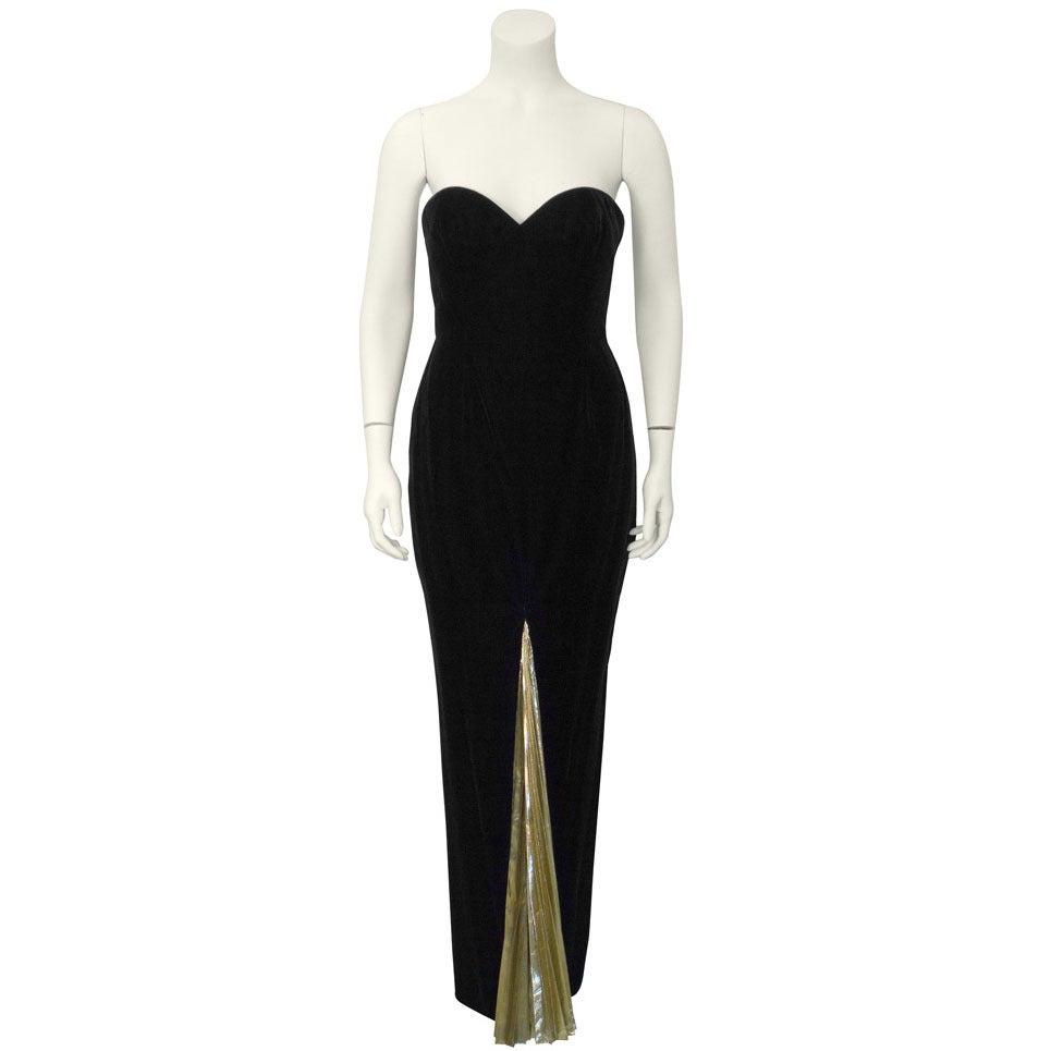 1980's Vicky Tiel Velvet & Gold Lame Gown For Sale