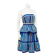 1980's Victor Costa Blue Striped Cotton Tiered Dress