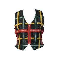 1980's Moschino Black Leather Vest with Colorful Zippers