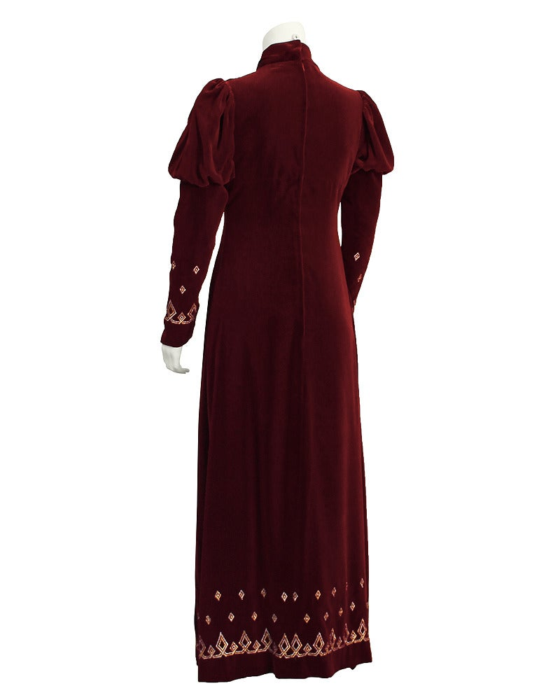 Black 1970's Annacat Burgundy Velvet Gown with Gold & Silver Details For Sale
