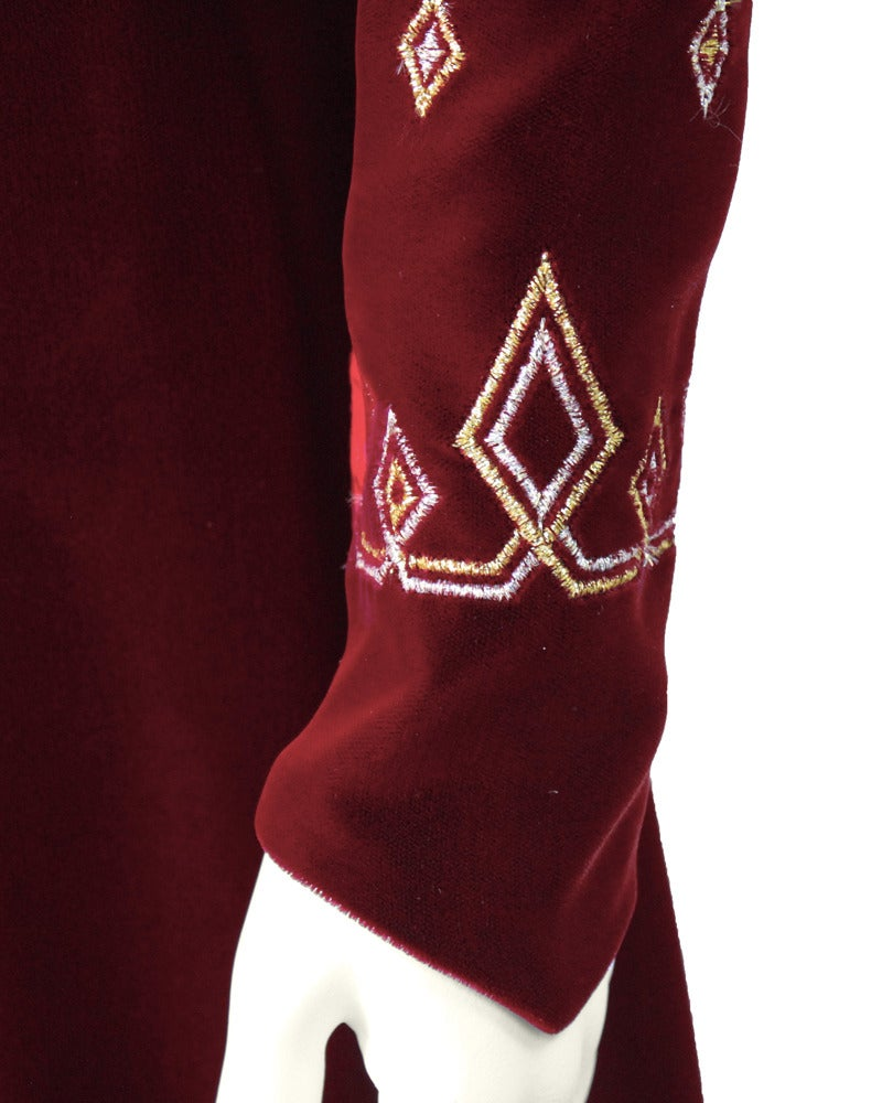 Women's 1970's Annacat Burgundy Velvet Gown with Gold & Silver Details For Sale