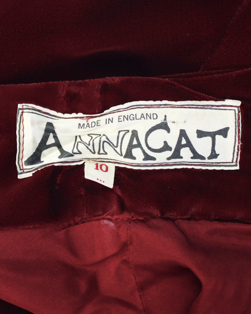 1970's Annacat Burgundy Velvet Gown with Gold & Silver Details For Sale 1