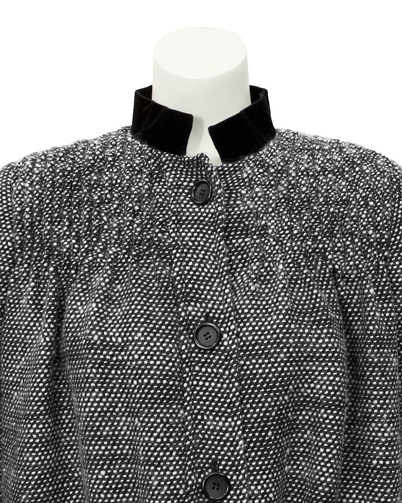 Gray 1980's Bill Blass Black & White Smocked Swing Jacket For Sale