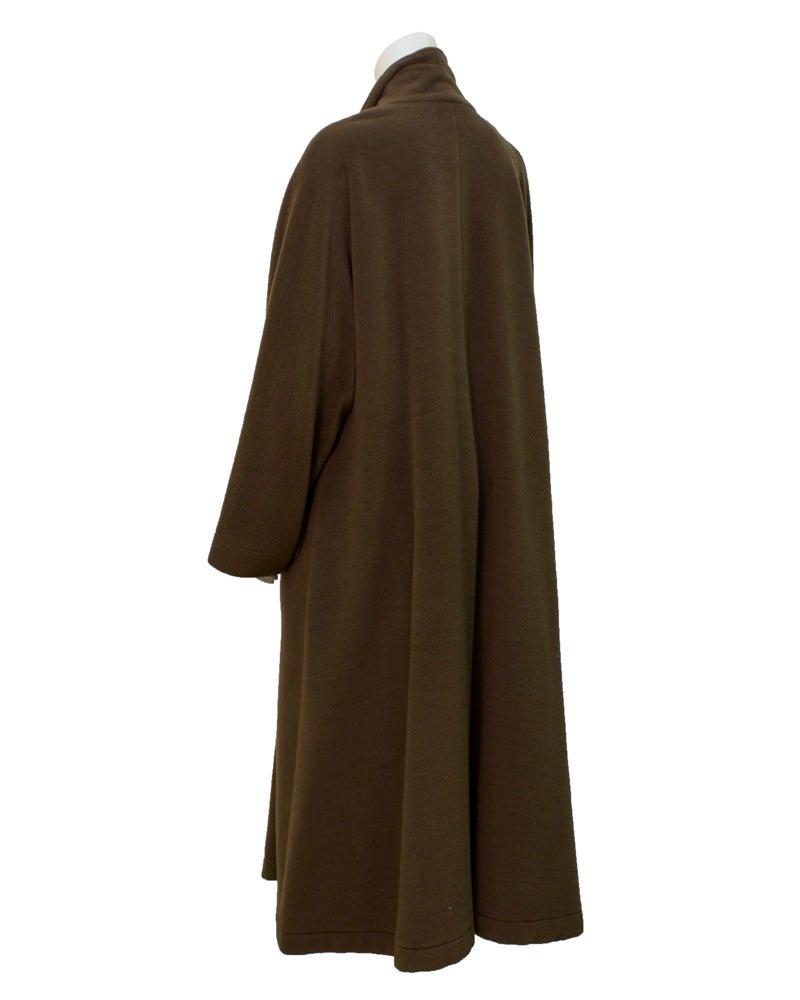 1980's Genny Brown Kimono Style Wool Coat 2