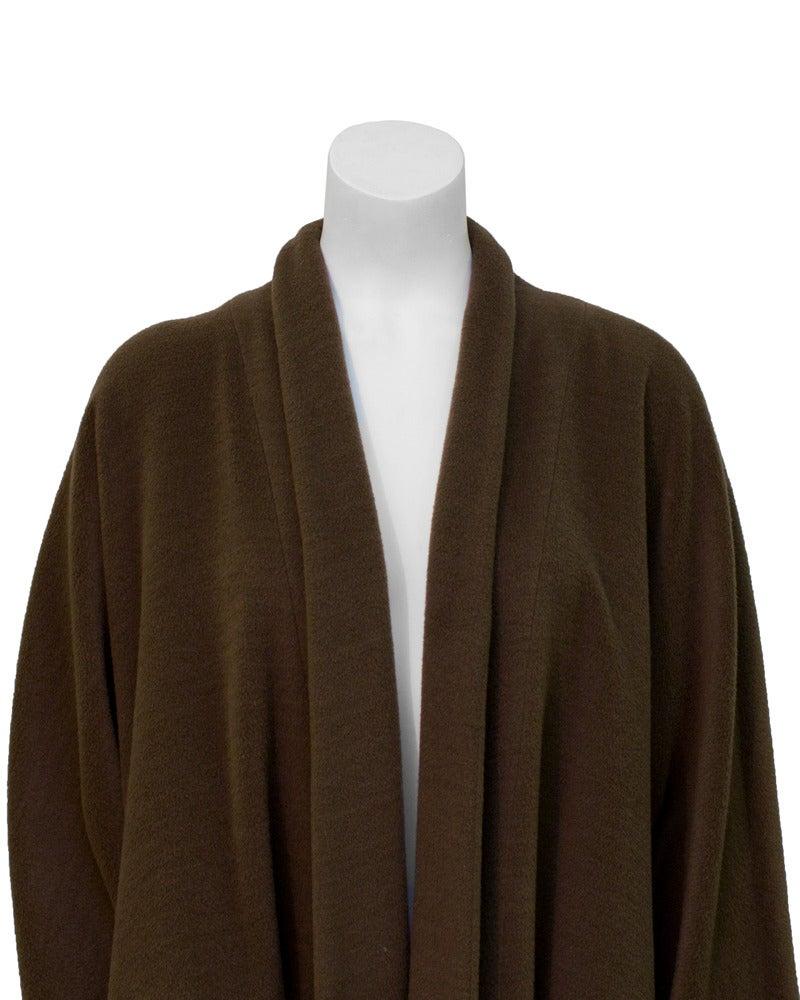 1980's Genny Brown Kimono Style Wool Coat 3
