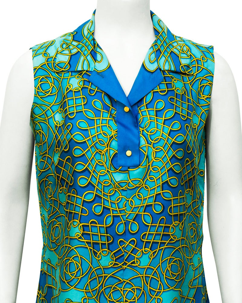 1980's Hermes Blue Sleeveless Silk Top In Excellent Condition For Sale In Toronto, CA